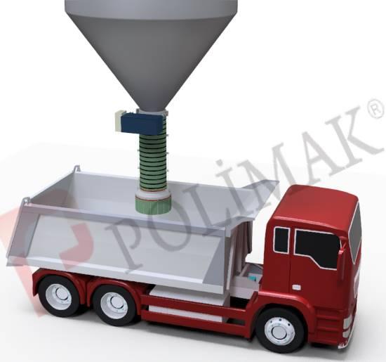 Open truck loading bellow dustless telescopic loading of trucks