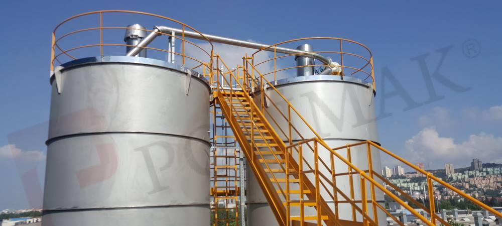 Endüstriyel toz hammadde işleme tesisi stok siloları Jet Filtre Pnömatik transfer