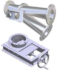 Diverter valve powder flow