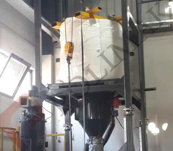 Bulk bag discharge station big bag weighing system