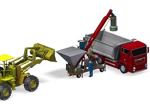 Mobile truck loading with front end wheel loader large hopper loading system