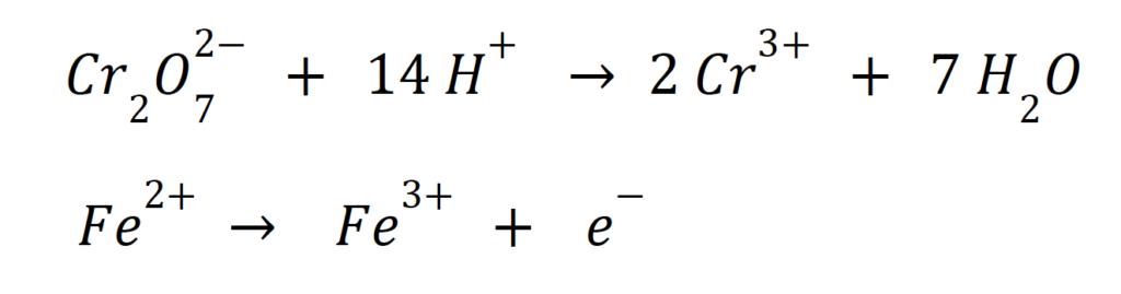 Yarı reaksiyon standart elektrot potansiyeli +1,33 V.