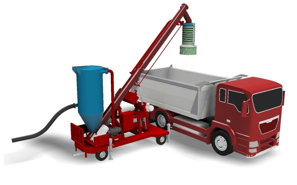 Mobile silo truck loading system with vacuum sucking hose
