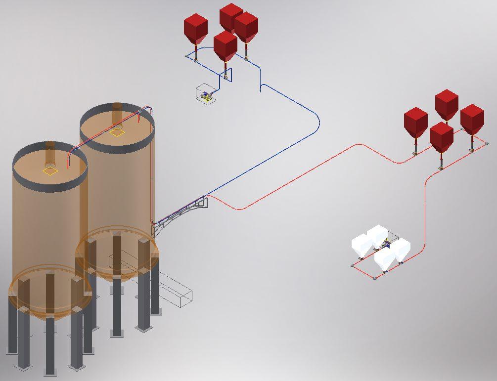 Kül çimento dökme malzeme pnömatik taşıma sistemi